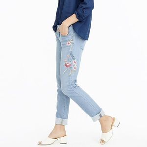 J. Crew Embroidered Slim Broken In Boyfriend Jean